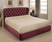Abbyson Living Presidio Tufted Upholstered Bed in Cabernet