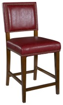 Linon Brook Set of 2 Counter Stools in Red